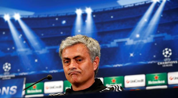 Chelsea's manager Jose Mourinho speaks during a news conference at Vicente Calderon stadium in Madrid