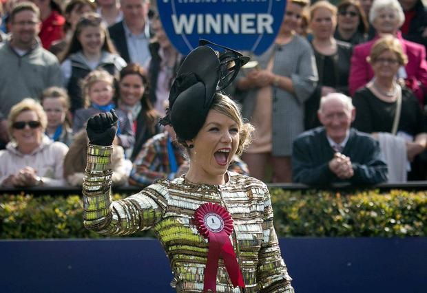 Winner of the Carton House most stylish lady Catherine Lundon from Mullingar during the Irish Grand National at Fairyhouse, Co Meath. Photo: Collins
