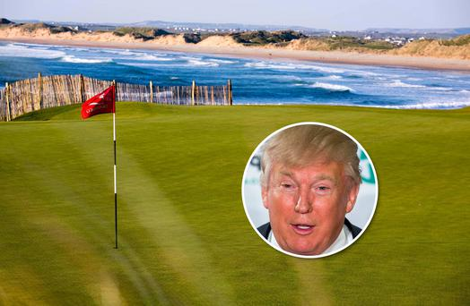 The 18th green at Doonbeg Golf Club in County Clare. Inset: Donald Trump. Photo: Arthur Ellis.