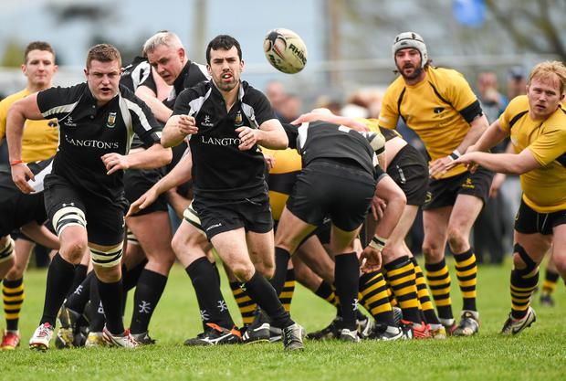 Robbie Walsh, Kilkenny RFC, in action against Ashbourne RFC. Provincial Towns Cup Final sponsored by Cleaning Contractors, Ashbourne RFC v Kilkenny RFC, Tullow RFC, Tullow, Co. Carlow. Matt Browne / SPORTSFILE
