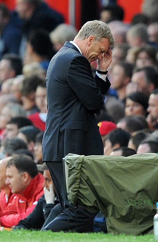 File photo dated 19/10/2013 of Manchester United manager David Moyes appears dejected. PRESS ASSOCIATION Photo. Issue date: Tuesday April 22, 2014. David Moyes has