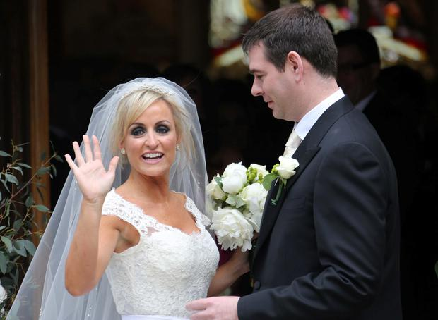 Sean Quinn Jnr and Karen Woods on their wedding day in 2012