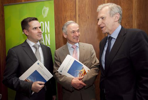 Martin Shanahan, CEO, Forfas, Minister for Jobs, Enterprise and Innovation, Richard Bruton TD and Yves Lenterme, Deputy Secetary General, OECD at the launch of the OECD's review of Ireland's Action Plan for Jobs. Picture: Shane O'Neill / Copyright Fennells.