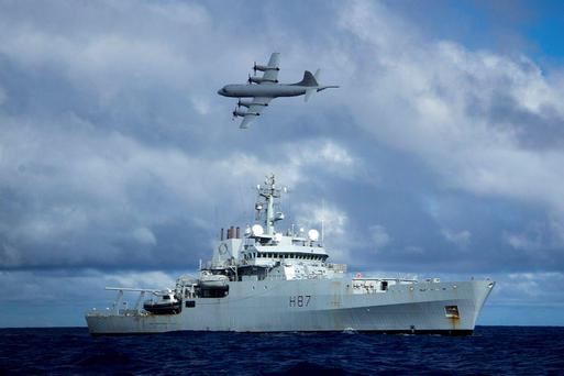 Manhunt: HMS Echo is among the ships searching for plane. Photo: PA