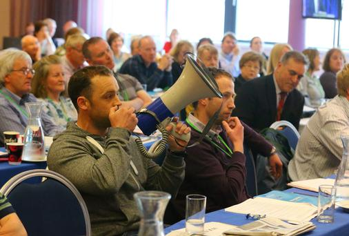 A protester produced a megaphone during Minister Ruairí Quinn's speech at the ASTI conference. Picture: Patrick Browne