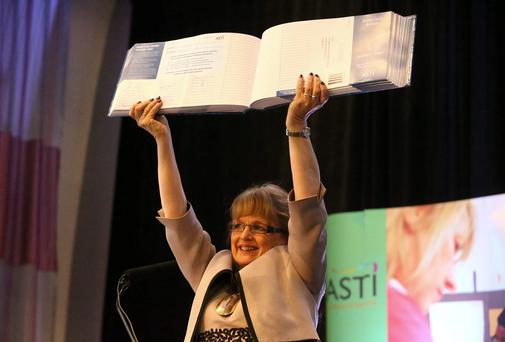 Pictured in April, Sally Maguire, Outgoing President of the ASTI, with a petition signed by 9921 teachers against the proposed new Junior Cert. Picture: Patrick Browne