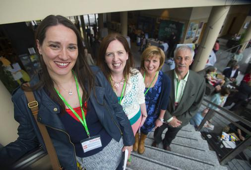 Pictured at the ASTI Conference are delegates Ann Gillen, Claire Kelleher, Eleanor Troy and Eamon Murphy from Cork. Picture: Patrick Browne