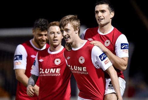 Chris Forrester, second from right, St Patrick's Athletic, celebrates after scoring with team-mate's Christy Fagan, right and Lee Lynch. Picture credit: David Maher / SPORTSFILE