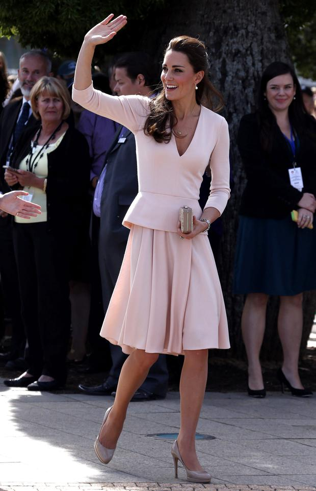 Kate stuns in this pale pink Alexander McQueen number with her trusty LK Bennett shoes