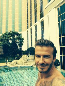 Deavid Beckham posted this poolside Selfie