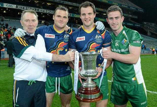 Dr Kevin Moran (left) celebrates with Ireland players Neil McGee, Michael Murphy and Paddy McBrearty after their International Rules win over Australia last October. Picture credit: Oliver McVeigh / SPORTSFILE