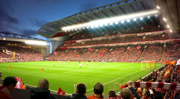 Liverpool are planning to revamp both the Main Stand and the Anfield Road end. Photo: Liverpool FC/PA Wire.