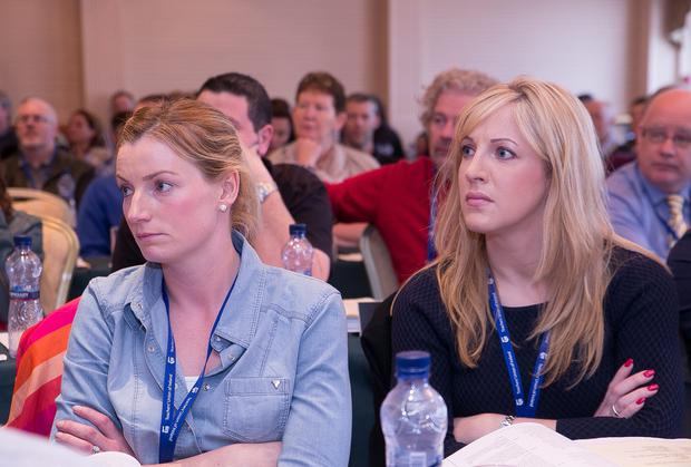 Kate Hehir and Marie Lynch from Co Clare were looking less than impressed by the Minister for Educations speech at the TUI Conference in Kilkenny. Photo: Pat Moore