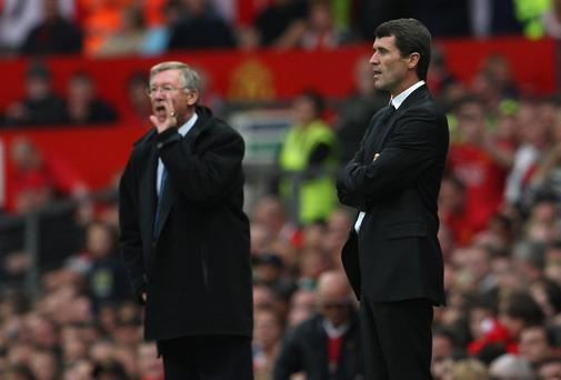 Roy Keane - seen here with Alex ferguson when he visited Old Trafford as Sunderland boss in September 2007 - was favourite to succeed Ferguson as manchester United manager at one stage. Photo: Shaun Botterill/Getty Images