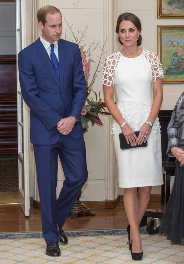 The Duke and Duchess of Cambridge during a reception at Government House in Canberra