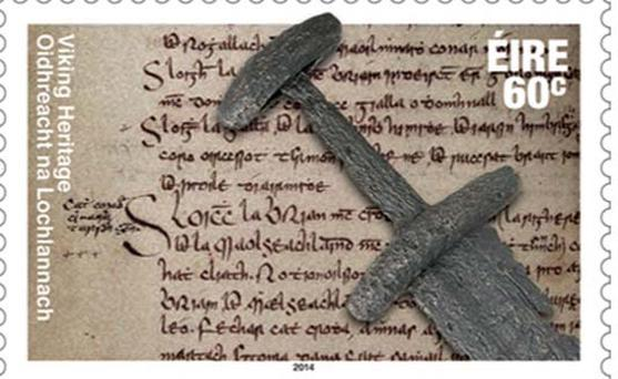 This stamp features what is believed to be a 10th century Viking sword, found in Christchurch Place, Dublin. The background depicts an image from the Annals of the Four Masters. The first day cover features an image of Brian Boru, at the Battle of Clontarf in 1014.