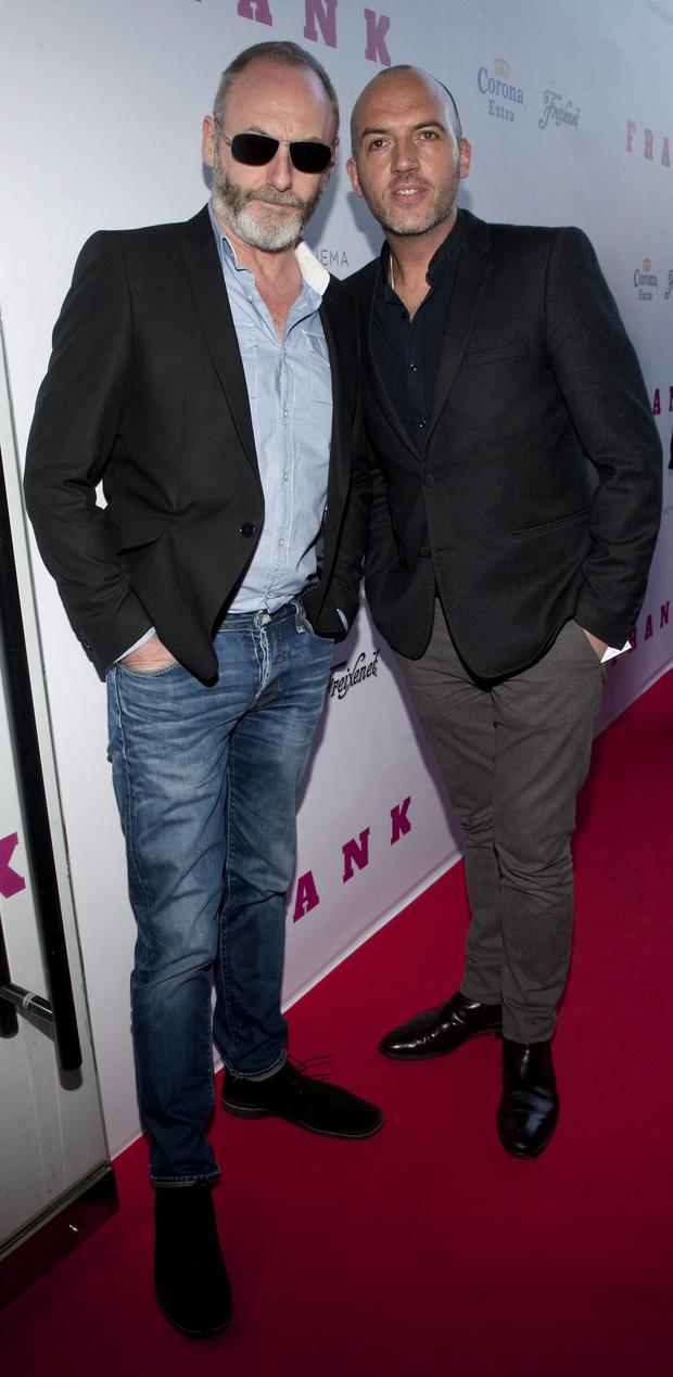 Liam Cunningham and Dylan McGrath pictured at the European premiere of FRANK at the Light House Cinema, Smithfield. Pic Patrick O'Leary NO REPRO FEE