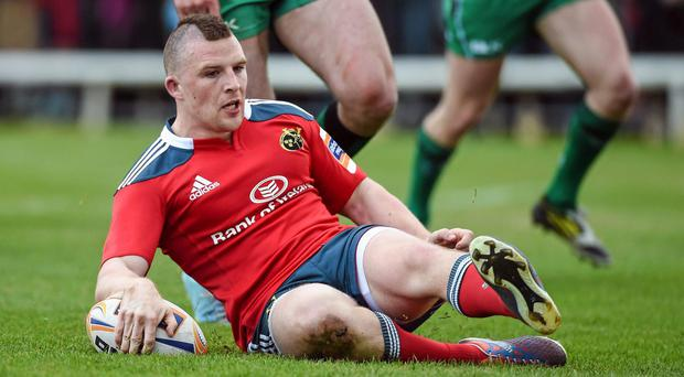Andrew Conway scores Munster's first try during their victory against the westerners. Photo: Diarmuid Greene / SPORTSFILE