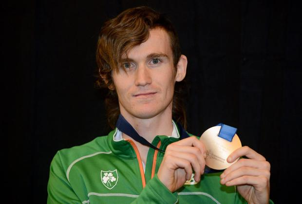 Ireland's Ciarán O Lionáird with the bronze medal he won in the Men's 3000m Final last year