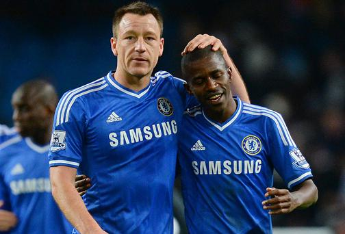 Chelsea captain John Terry is facing a race to reach fitness for next week's return leg against Atletico Madrid, while teammate Ramires will miss the title run-in after being handed a four-match ban by the FA. Photo: ANDREW YATES/AFP/Getty Images