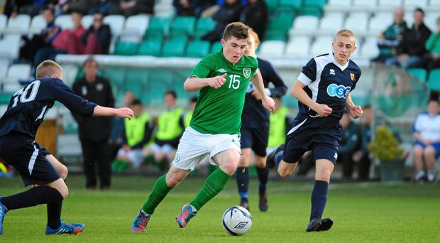 24 April 2014; Ryan Manning, Republic of Ireland U18 Schools, in action against Jamie Dishington, left, and Jamie Dishington, Scotland U18 Schools. Centenary Shield, Republic of Ireland U18 Schools v Scotland U18 Schools, Tallaght Stadium, Tallaght, Dublin. Picture credit: Tómas Greally / SPORTSFILE