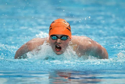 Brendan Hyland, Tallaght swimming club, on his way to winning the Men's 200m Butterfly A Final at the 2014 Irish Long Course National Championships