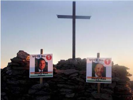 Healy-Rae posters on top of Carrauntoohil, Co Kerry Pic: Paul Doyle (@pauldoyleIRL)