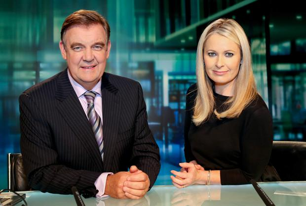 Bryan Dobson and Sharon Ni Bheolain on the old RTE set.
