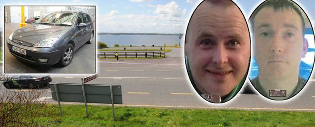 The car park at Lough Owel which was sealed after the discovery of the grey Ford Focus. Inset: Eoin O'Connor and Anthony Keegan. Picture: James Flynn