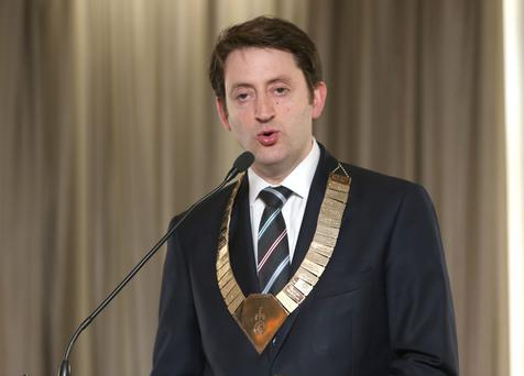 Dr Matthew Sadlier, outgoing president of the Irish Medical Organisation, speaks at their annual conference at Carton House. Picture: Damien Eagers