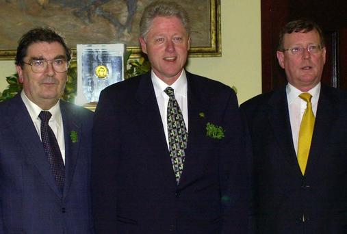 Bill Clinton with John Hume and David Trimble in 2000. Picture: AP