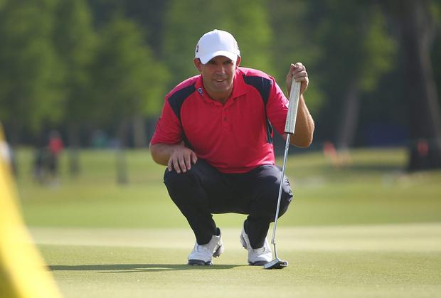Padraig Harrington prepares to putt on the 9th at the end of his round during round two of the Zurich Classic of New Orleans at TPC Louisiana yesterday. Photo: Marianna Massey/Getty Images