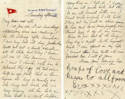 The only surviving letter believed to have been written on board the Titanic