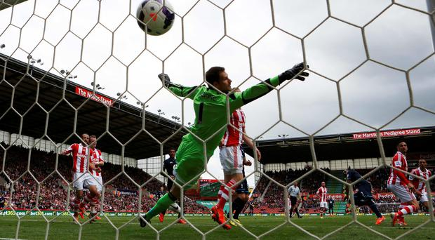 Danny Rose scores against Stoke City at the Britannia stadium.