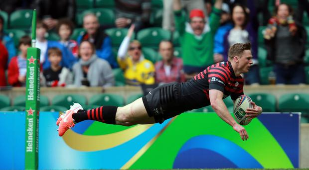 Saracens Chris Ashton goes over to score their first try during the Heineken Cup Semi Final match at Twickenham.