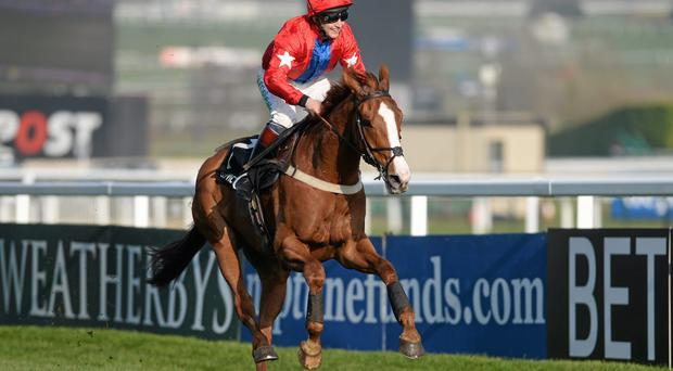 Sire De Grugy, with Jamie Moore up, on their way to winning at Cheltenham