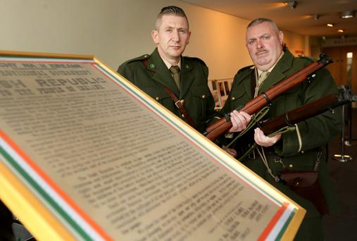 Rod Dennison and Paul Callery, members of the Dublin Brigade of the Irish Volunteer History Group, pictured at the opening of the 1916 Rising in Dublin's Liberty Hall. Picture; GERRY MOONEY.