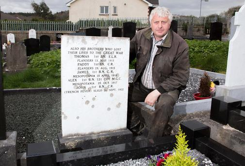 Sligo cemetery caretaker Brian Scanlon at the grave of former Mayor of Sligo Michael Conlon Photo: James Connolly / PicSell8