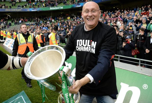 Toulon's head coach Bernard Laporte celebrates after winning the European Cup rugby final rugby union match between Clermont Auvergne and Toulon at the Aviva Stadium in Dublin on May 18, 2013. Toulon won 16-15. AFP PHOTO / FRANCK FIFE (Photo credit should read FRANCK FIFE/AFP/Getty Images)