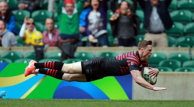 Saracens Chris Ashton goes over to score their first try