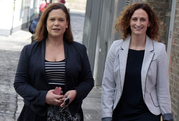 Sinn Fein Deputy Leader Mary Lou McDonald and Lynn Boylan, the Sinn Fein candidate for Dublin in the European Election. Photo: Tom Burke