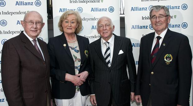 RonanAllianz & Irish Independent Executive Golf Trophy 2014 The Grange team … from left: Dónal Bollard, Allianz, Anne Lawford, Lady Captain, Tony Frew, Captain, Frank O'Riordan, Honorary Secretary and Brian Higgins, Allianz. Photo: Ronan Quinlan