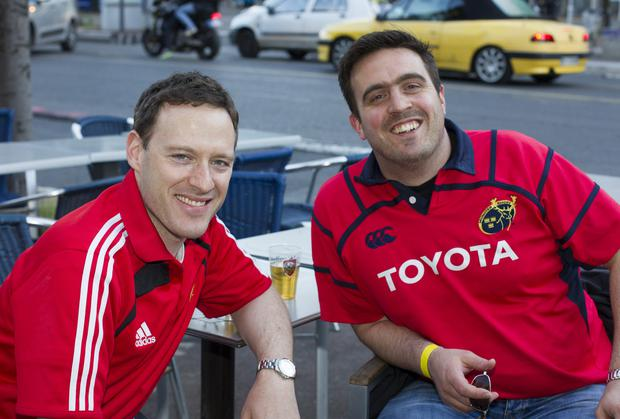 Munster fans Carl O'Brien and Rory OMahony from Cork after the Heineken Cup Semi Final against Toulon in France today. Photo: Mark Condren