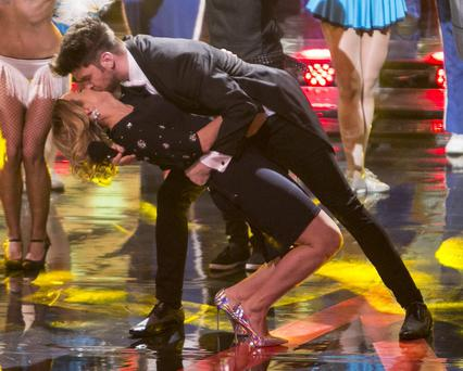 Eoghan Mc Dermott kisses Kathryn Thomas during the Final of The voice of Ireland in The Helix KOBPIX