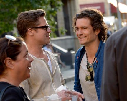 Brad Pitt and actor Orlando Bloom attend the Paris Photo Los Angeles private preview at Paramount Studios (Photo by Jason Kempin/Getty Images for Paris Photo)