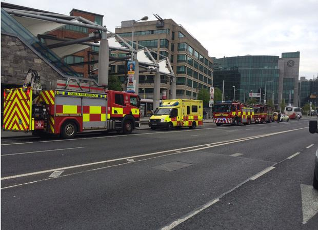 The scene outside Connolly Station this morning