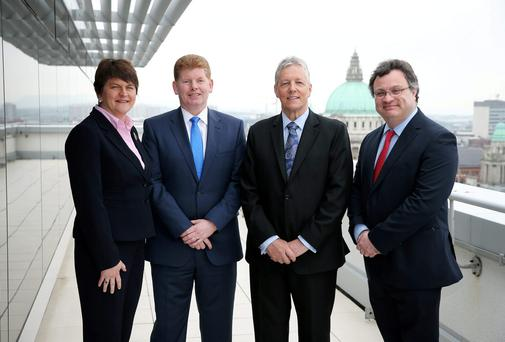 First Minister Rt. Hon. Peter D Robinson MLA, Enterprise, Trade and Investment Minister Arlene Foster and Employment and Learning Minister Dr Stephen Farry are pictured with Mike McKerr, Managing Partner, EY Ireland.