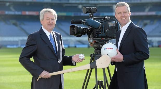 Ard Stiúrthóir of the GAA Páraic Duffy, left, and JD Buckley, Managing Director, Sky Ireland. Croke Park, Dublin. Picture credit: Brendan Moran / SPORTSFILE
