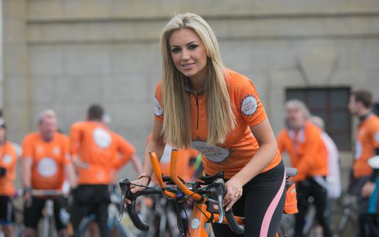 Rosanna Davison at the 2014 Cycle Against Suicide the 2fm Studios. Photo: Gareth Chaney Collins