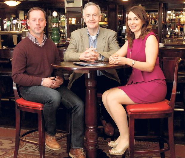 Barley farmer Eugene Ryan (left), from Stradbally, Co Laois, Vincent Flannery of The Bard's Den pub in Letterfrack, Co Galway, and Marie Byrne, Dublin Whiskey Company, at the Support Your Local campaign launch.